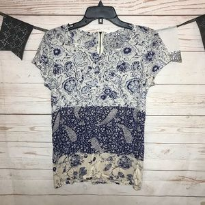 Lucky Brand Paisley Print Knit T Shirt Size S